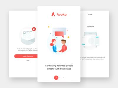 Avoko app red ux ui illustrations app