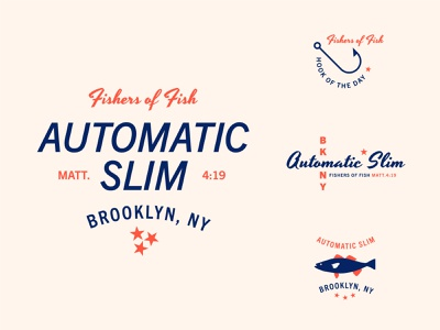 Automatic Slim retro vector type illustration typography ocean logo badge boat fishing fish