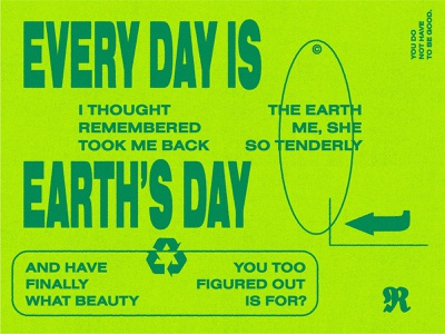 Today poem sustainable earthday green stamp recycle texture letters earth typography