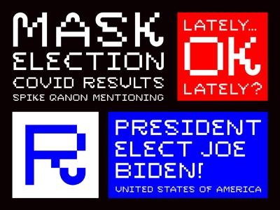 Lately covid election pixels bitmap typography letters