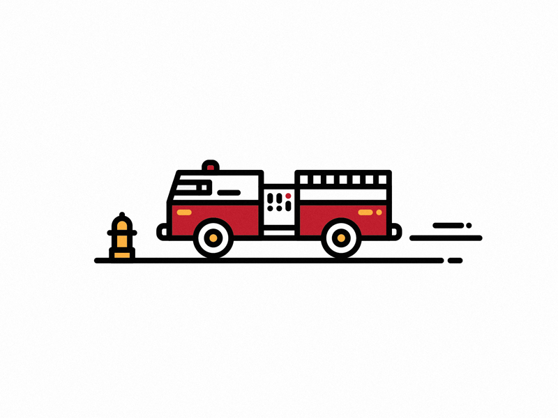 Get out tha way geometric shapes vector firetruck thick lines icon
