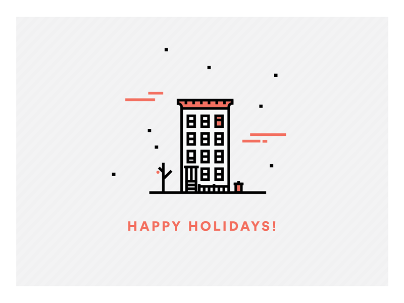 Brooklyn Christmas snow holiday line drawing christmas vector architecture brooklyn
