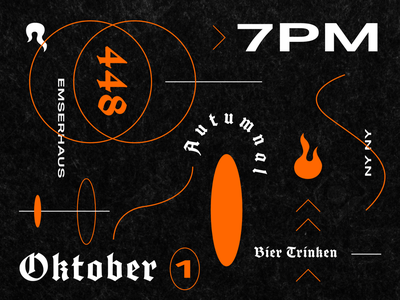 1 Oktober flames halloween typography fall fire beer autumn blackletter