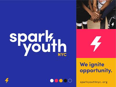 SparkYouth logotype lightning brand identity nyc nonprofit logo bolt spark branding