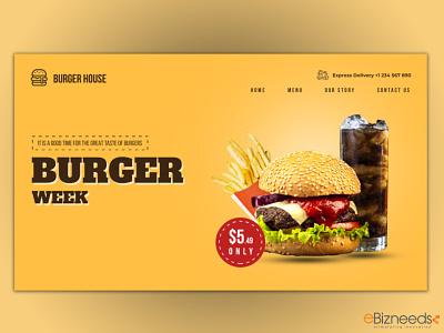 Burger Delivery Website landing Page Design - eBizneeds food website template food landing page landing page idea landing page design delivery website design