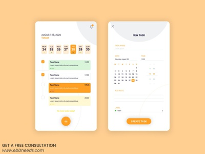 Calendar Booking App UI/UX Design - eBizneeds app developer app developers app designers australia android app development app designers app designer android app design
