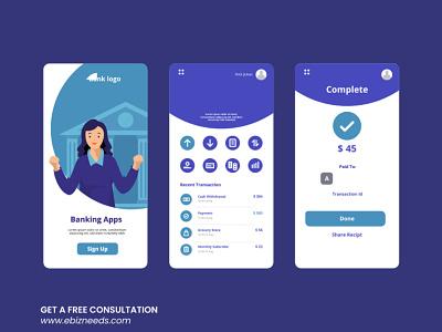 Online Banking App UI/UX Design - eBizneeds logo illustration design app developers app developer app designers australia android app development app designers app designer android app design