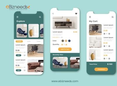 Furniture Ecommerce App UI/UX Design - eBizneeds illustration design app developers app developer app designers australia android app development app designers app designer android app design