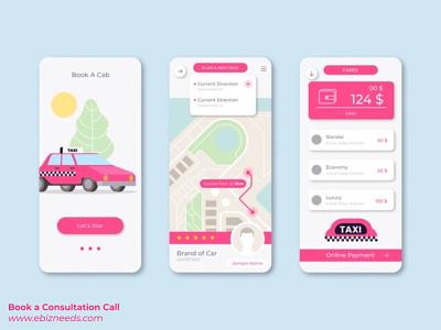 Online Taxi Booking App UI/UX Design - eBizneeds app developers app developer app designers australia android app development app designers app designer android app design