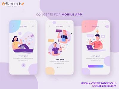 Concepts for Mobile App UI/UX Design - eBizneeds illustration design app developers app developer app designers australia android app development app designers app designer android app design