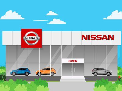 Nissan Showroom vector illustration design