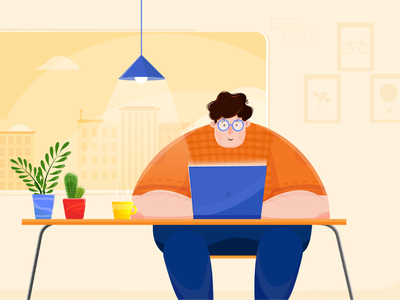 Enjoy Working flat vector illustration design