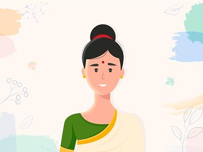 Indian Women flat vector illustration design