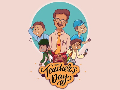 Teachers Day illustrator minimal flat vector illustration design