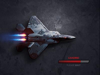 F-22 Raptor photoshop game preloader loading dark military fighter