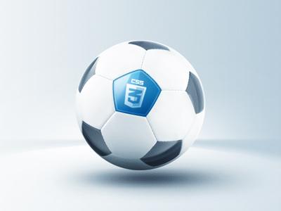 Elegant CSS3 Soccer Ball css3 icon photoshop ball blue light