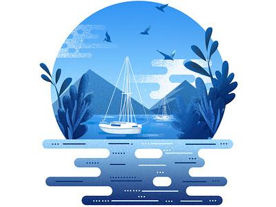 on the ocean vector illustration
