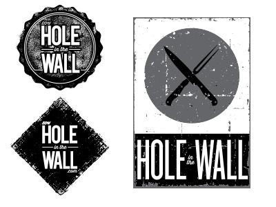 Hole in the Wall Logo Concepts blog crest bottle cap logo design grunge