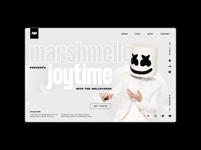 Marshmello — Website Concept adobe xd black contemporary modern minimal website concept mellogang marshmello website designer web designer ux designer ui designer ui ux design ux design ui design uiux ui designer design alygraphy