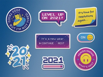 Say Goodbye to 2020 — 21 Free Stickers for 2021 3/3 classic blue game web design adobe illustrator sticker set free download graphic design sticker design stickers illustration vector illustration retro dribbble weekly warm-up freebie sticker pack new year 2021 2020 design