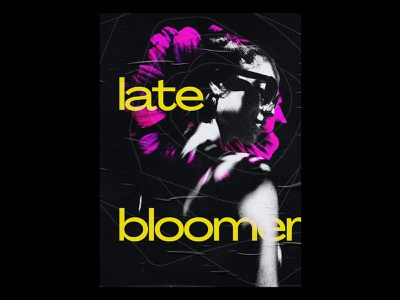 Late Bloomer illustration adobe photoshop creativity creative pink yellow colors flower texture dark contemporary typography poster daily poster daily poster artwork portfolio graphic design alygraphy