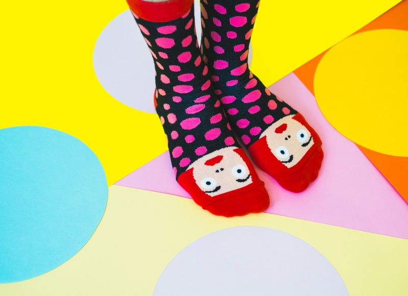 Still life image for socks brand. hipster contemporary concept modern image style 70s vibrant bright colors art pop popart still life photography product photography product photographer photo