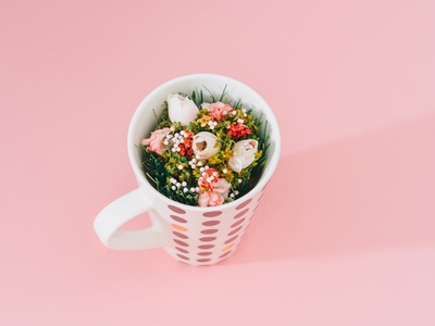 Flowers In The Mug valentines day 8 march womans day gift card mug spring flowers stock minimalistic product image hipster creative pop art contemporary concept still life photography photo