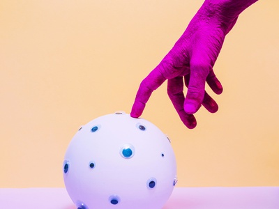 Touching The Future purple surreal colorful painted vibrant hipster hand design pop image creative photo contemporary concept art still life photography