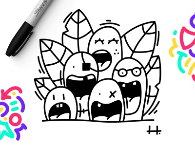 CRAZY FRIENDS 🤪 tooth smile cute fun character design character affinity designer drawing doodle