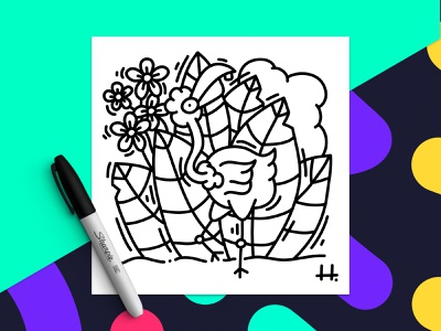 FLAMINGO 🌸 ipad pro nature character design character black and white drawing affinity designer doodle illustration animal flamingos flamingo