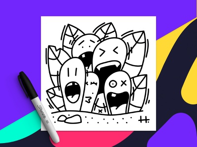 FRIENDS 🤪 Doodle illustration vector ipad pro character design black and white drawing doodle illustration character affinity designer friends friend