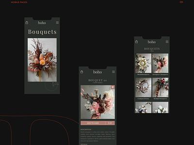 BOHO fashion brand illustration black mobile ux ui branding uiux uidesign design