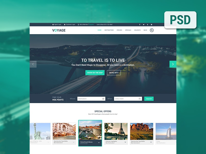 Free Travel Template PSD travel layout design flat design clean flat website layout web template web free freebie agileinfoways