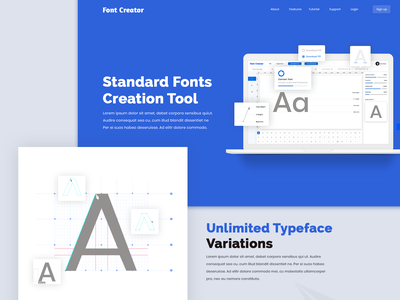Font Creator Tool website design landingpage creation software tool fonts