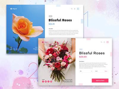 Flower Shop gift cart ui product rose agile ecommerce shop flower