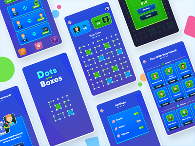 Dots And Boxes Game ux ui grid invite android boxes dots game
