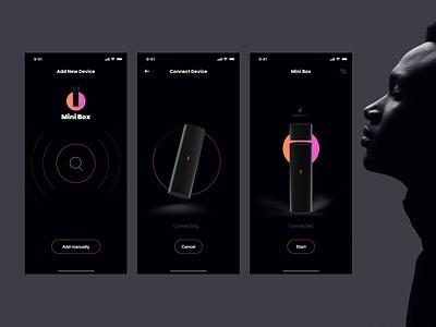 Mini box device app minimalistic minimal device iphone ios colour dark connection bluetooth app
