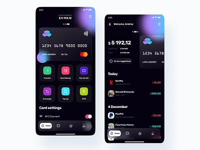 Banking app ui8net ui8 banking app gradient background blur blur shadows credit card card bank ios dark app