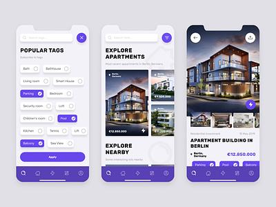ThunderRent App concept thunder render house design webgradients purple house rent mobile iphone ios app