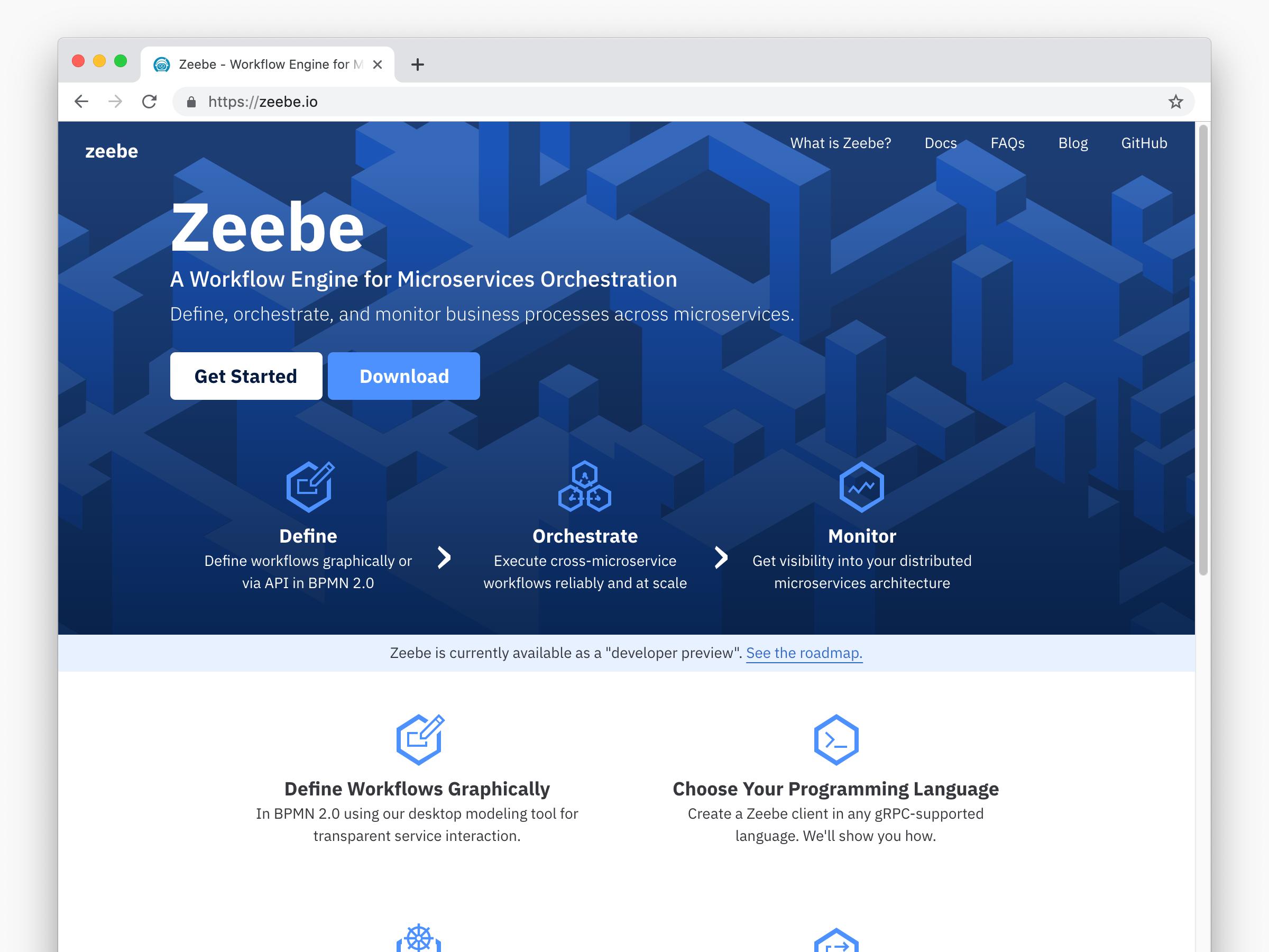 zeebe io Homepage by Franz Heidl for Camunda Product Design