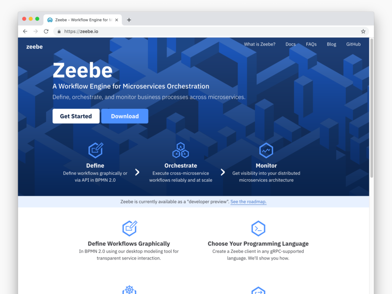 zeebe io Homepage by Franz Heidl for Camunda Product Design on Dribbble