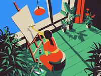 Artist illustrator artist plant color window house design city tree vector girl flower home illustration
