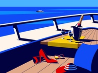 Summertime boat summertime blue holiday pillow champagne glasses hat sunglasses high heels shoes yacht sea summer vector illustration