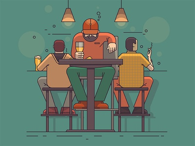 Friday Evening :) cigarete beer pub vector illustration evening friday