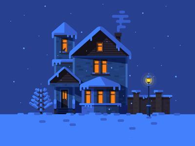 Winter House christmas night cat window lamp tree smoke snowflake snow winter house