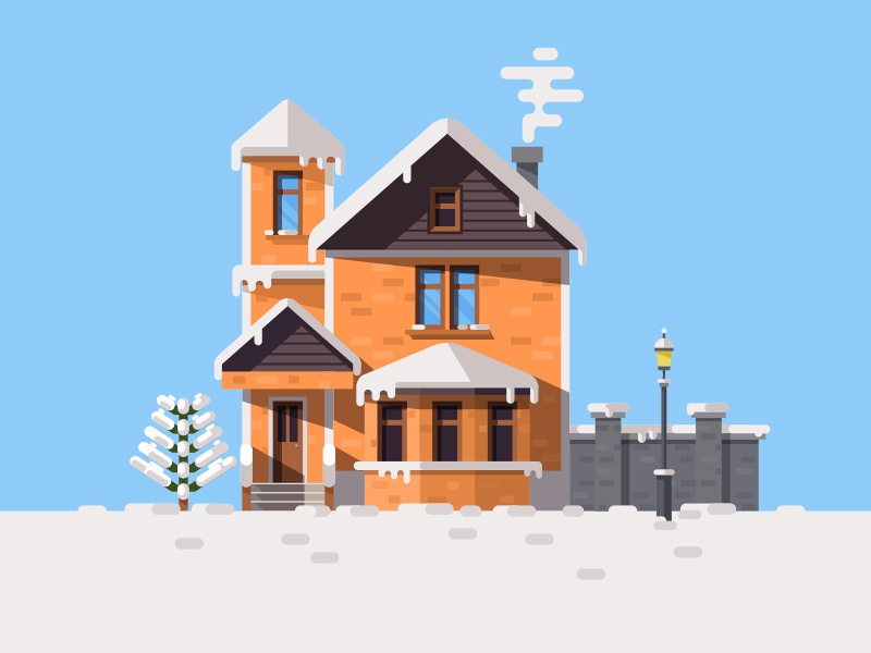 Day View Illustration of Winter House illustration christmas tree lamp smoke snow window house winter