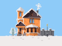 Day View Illustration of Winter House illustration christmas tree lamp smoke snow window house winter