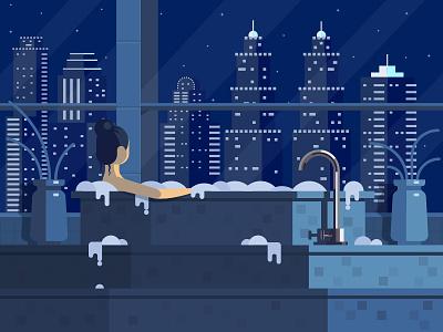 Relax Time :) jacuzzi light flower vase girl night city foam bathroom relax