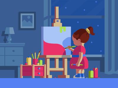Little Artist :) illustration summer winter window brush pencil night girl house color home artist