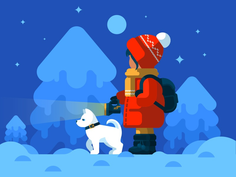 Adventure snow newyear girl haski illustration dog forest